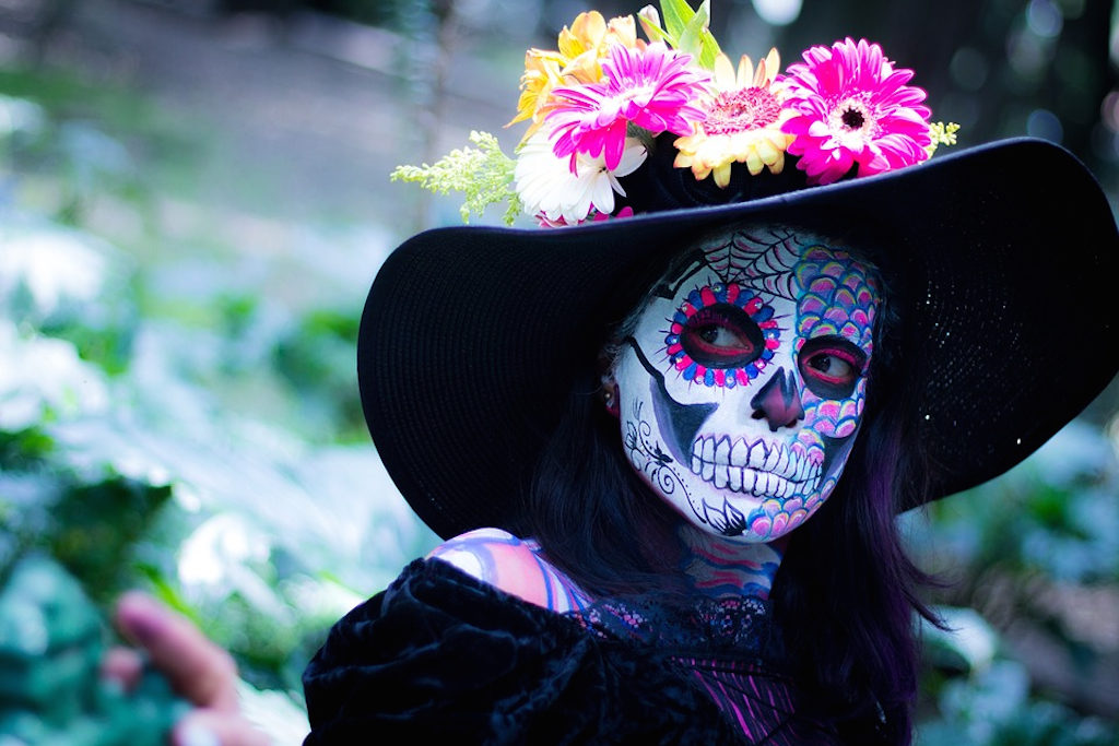 Woman in Day of the Dead costume