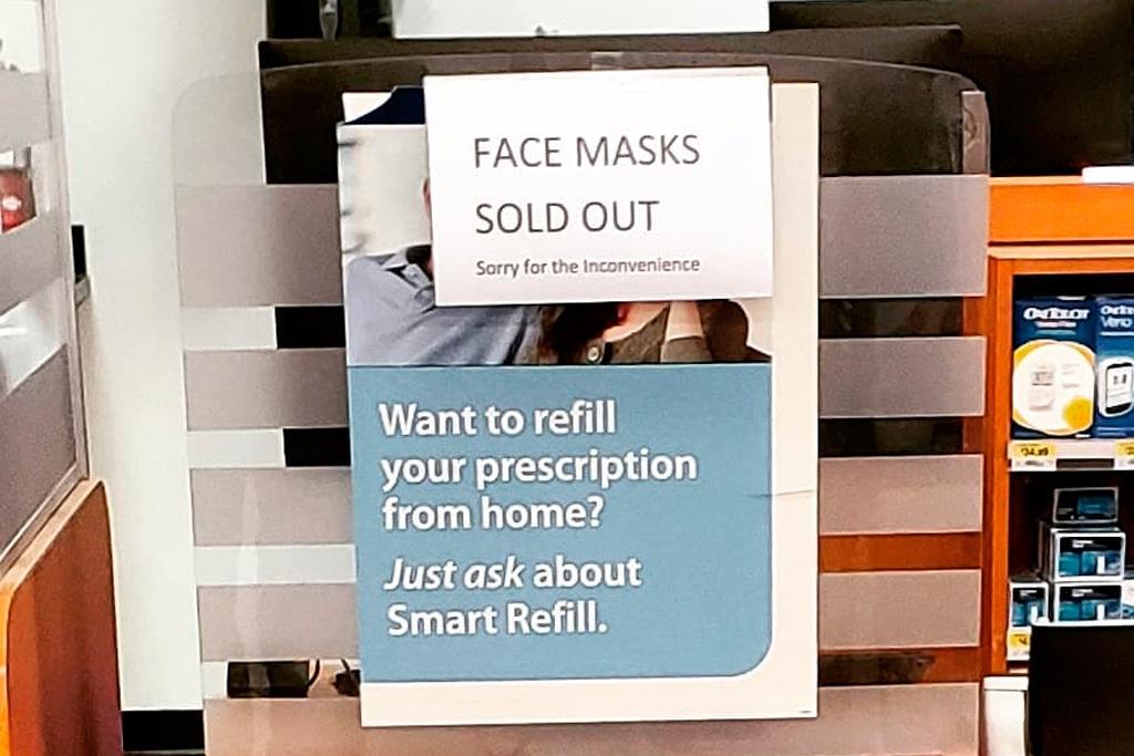 masks sold out sign
