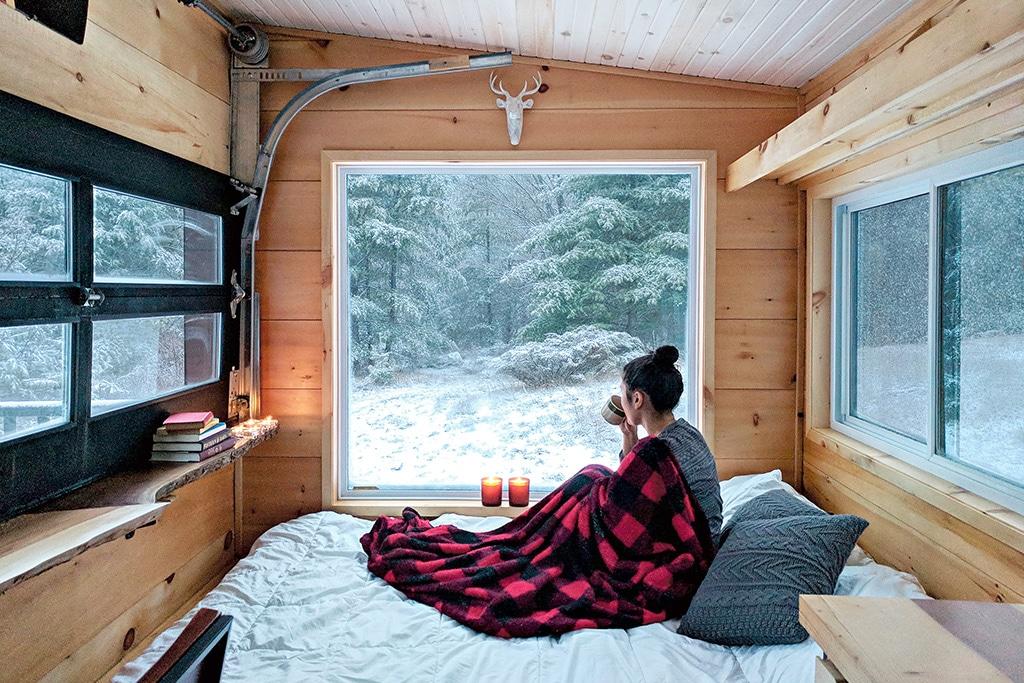 winter cabins cabinscape