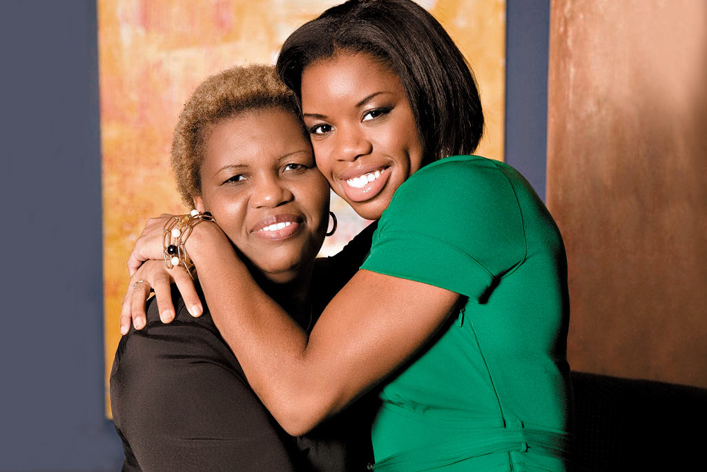 Perdita Felicien with her mother