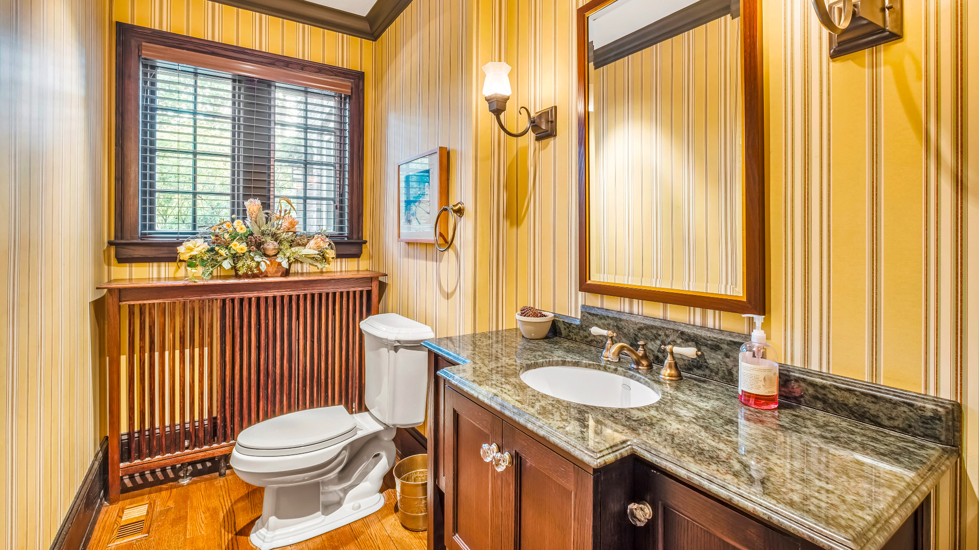A photo of one of the powder rooms.