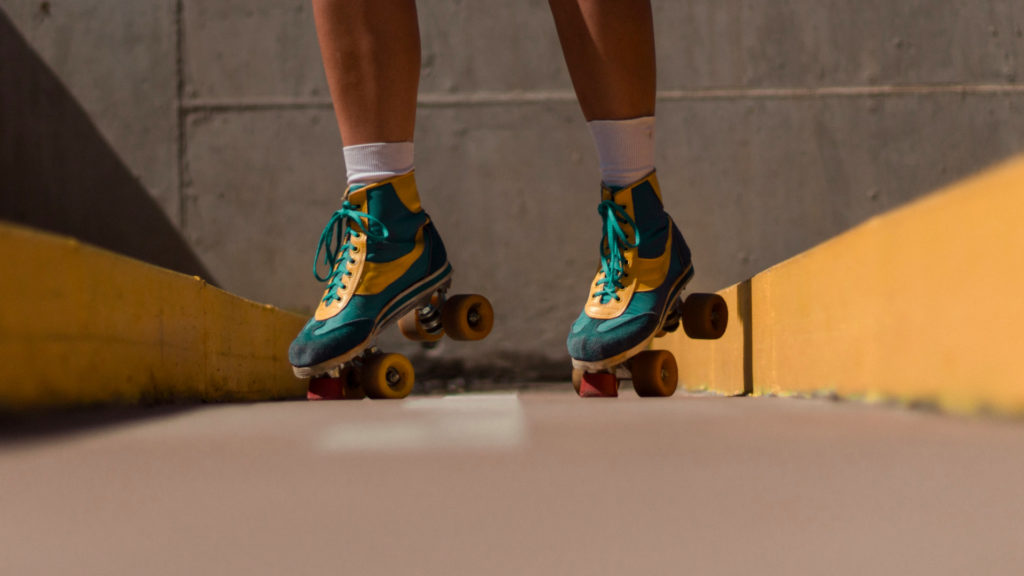 A photo of a person in roller skates