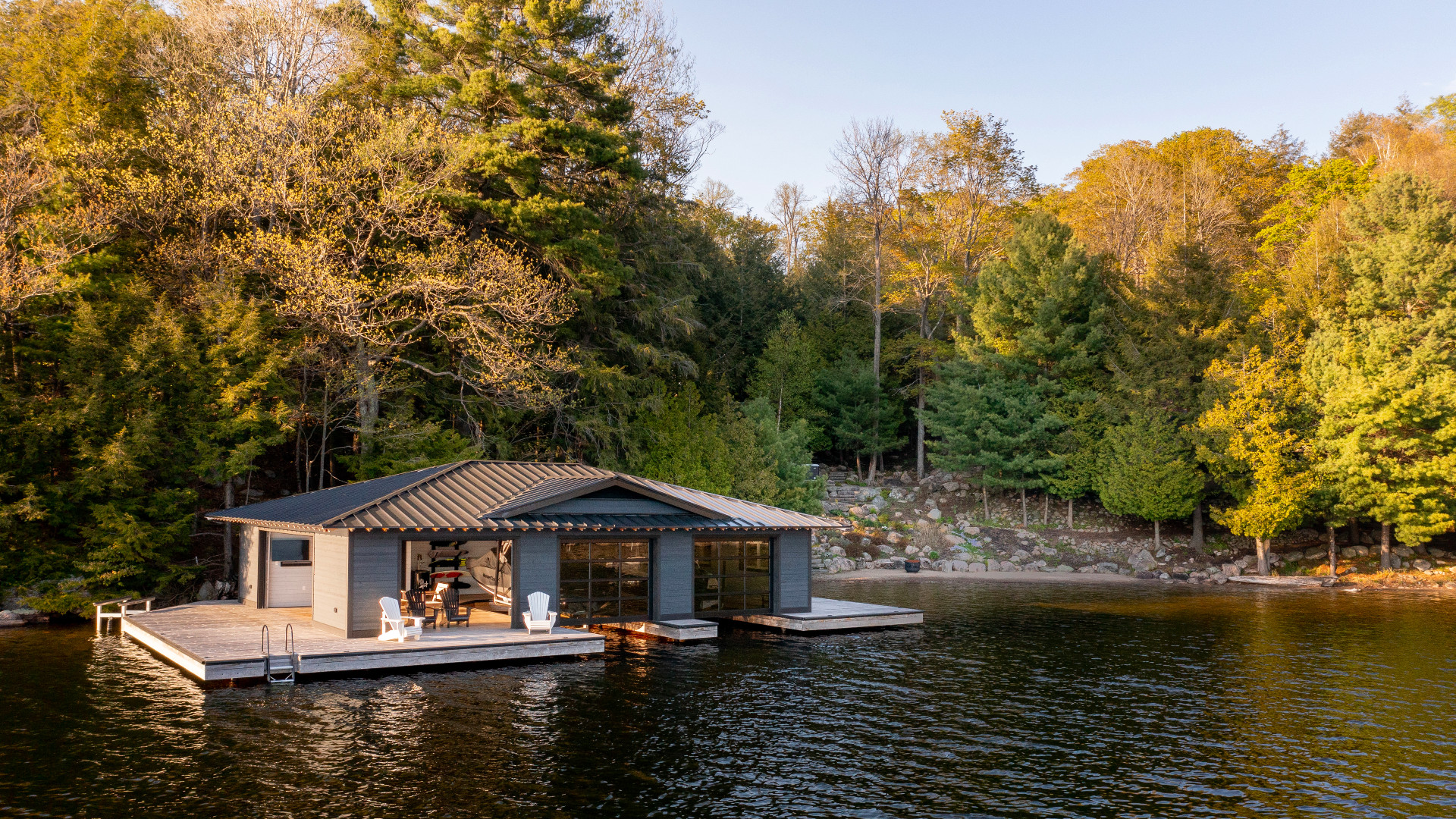 A wide view of the boathouse.