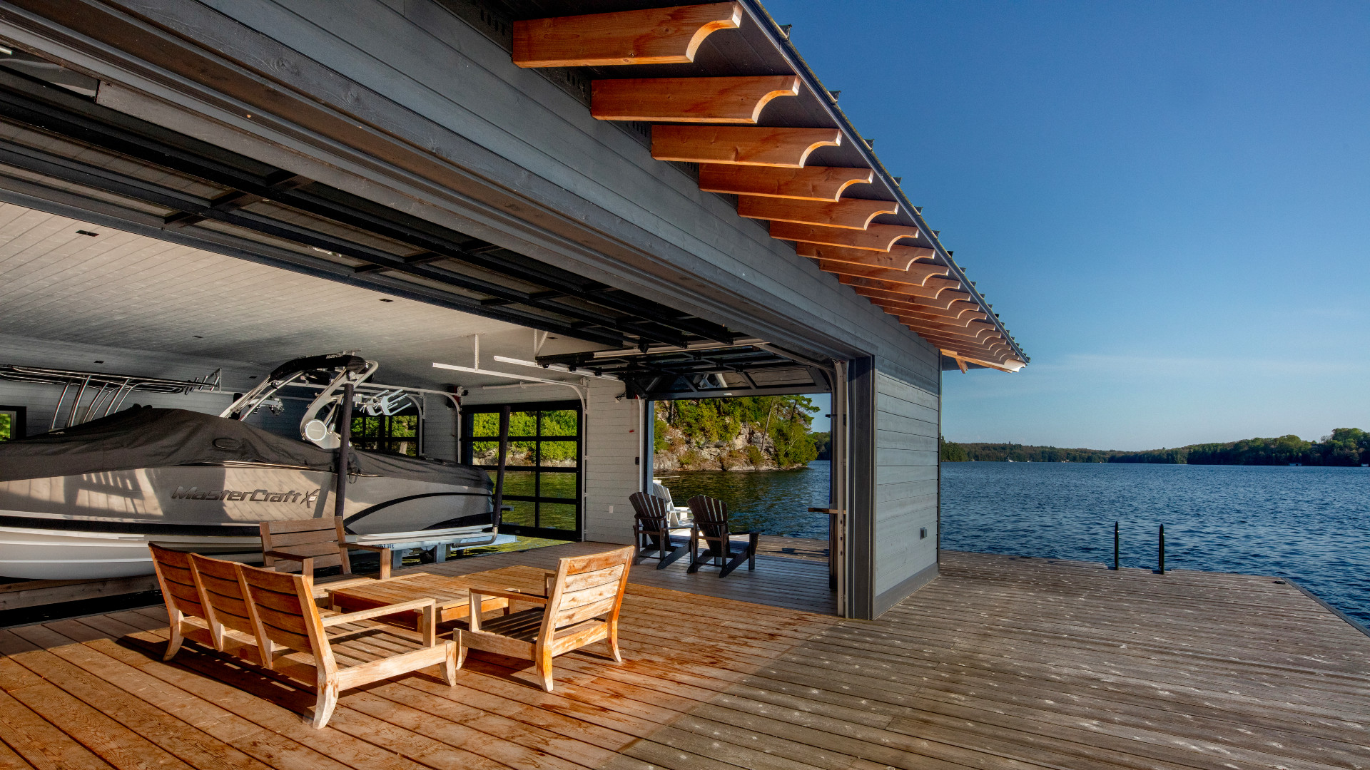 A photo of the deck by the boathouse.
