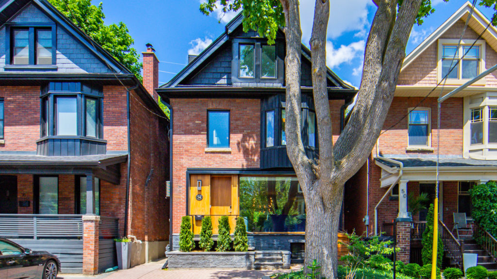 A photo of the front of this Annex neighbourhood three-storey home